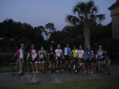 Eleven of us at Audubon Park for the start: Bryan, Mike, Robinson, me, Townsend, Nate, George, Rusty, Brian, Jim and Stu. Good crew.