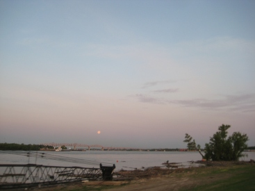 Moonrise over the Mississippi.