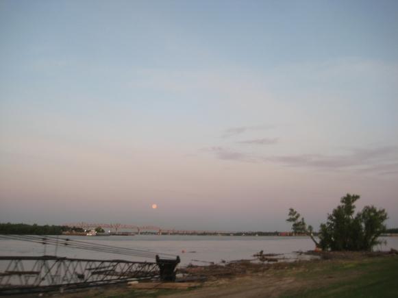Moonrise over the Mississippi.