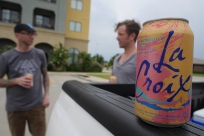Parking lot loitering sponsored by La Croix.