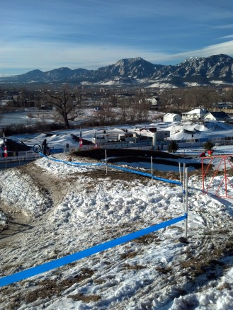 Valmont Bike Park from the top during the morning pre-ride.