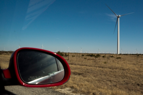 Windfarms littered the landscape.