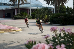 Stephanie Smith and Christina Person off the front and just through the Bally's portico.