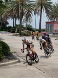 Andy Chochoa leads the pack in pursuit of the break.
