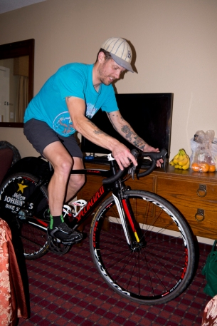 Rob dialing in the set-up the night before Race Du Lac.