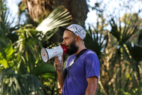 Just a blogger with a megaphone. Photo by Bjarne Kris Haug