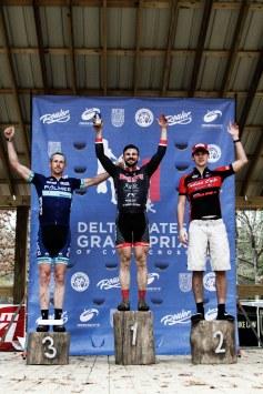 Cat 1/2/3 Podium: Joe Dabbs (Team Mugshots), Miles Juneau (Indian Cycle Racing), Adam Morris (Palmer Racing).