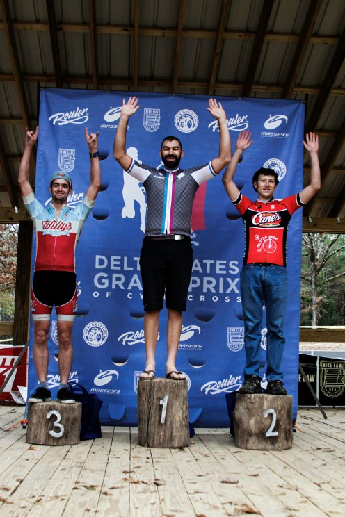 Cat 4/5 Podium: Nate Batts (Rouler Racing), Brian Callam (Raising Cane's), Sullivan VanWay (Willy's Cycling).