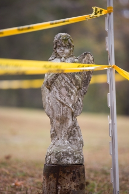 This angel was here before the descent, to keep all crossers rubber side down. H/T to T-Bone Myers for the picture idea.