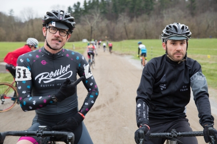 Wes at the start of the Industry Race with Deluxe Cycle's Willis.